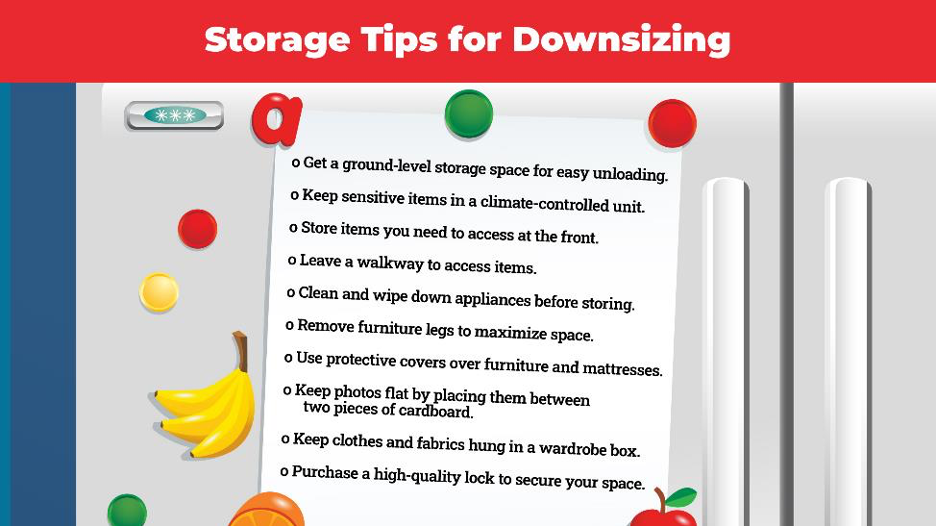 list of storage tips for downsizing