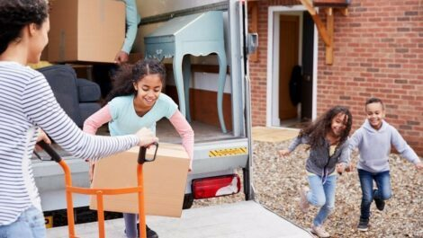 Children helping their mom move.