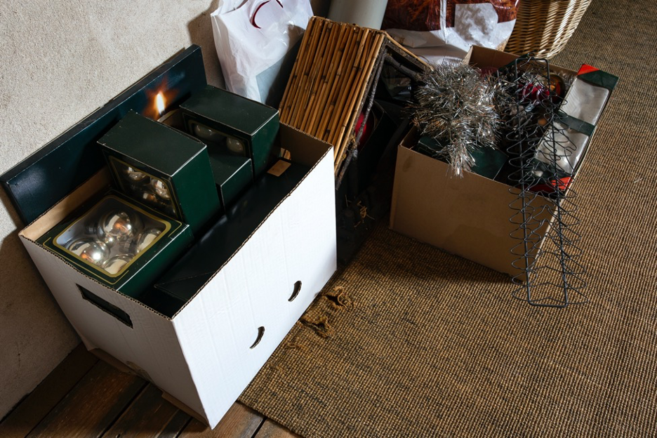 Holiday decorations in a box.