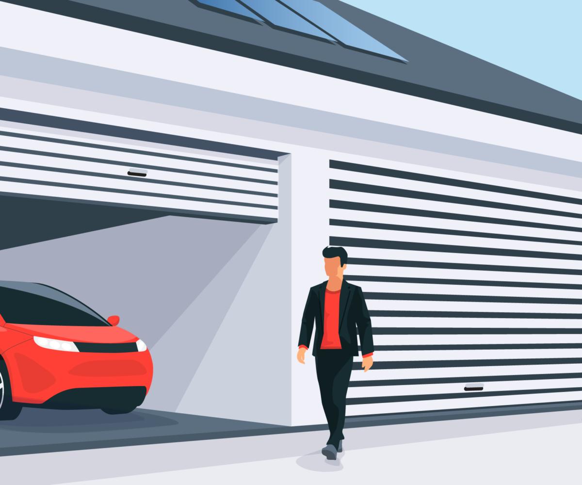 Car in a garage.
