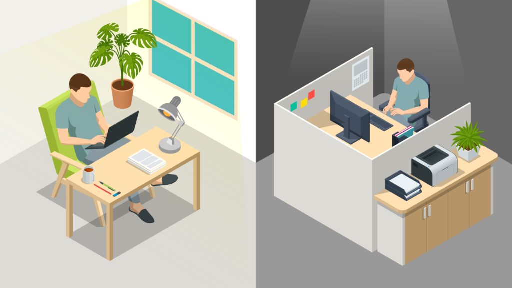 A person working at two different types of desks.