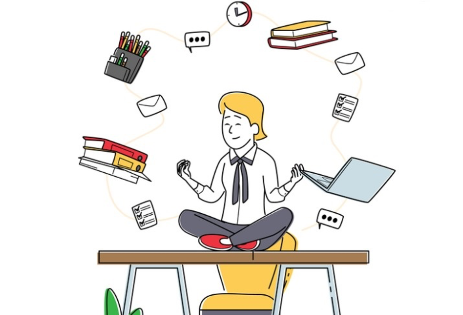 Cartoon person sitting cross-legged and surrounded by office supplies and lists.